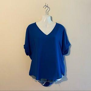 NWT Lush V-Neck Short Sleeve Blouse Blue Small